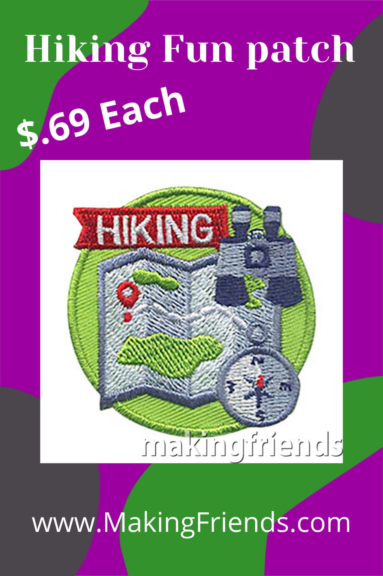 Hiking Patch -- Map. Teach your scouts some basic hiking skills.  See our suggested hiking skills below. This Hiking Patch from MakingFriends®.com is a great reminder of the skills they learned and fun they had on their hike.  #makingfriends #hiking #hikingpatch #funpatch #gspatch via @gsleader411