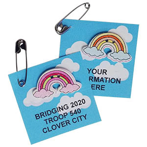 Bridging Rainbow Friendship Swap Kit. Easy as can be! We print your custom information -- up to 3 lines. Your girls will love the custom Bridging Rainbow Friendship Swap Kit created just for them! Exclusively available at MakingFriends®.com. You'll find ideas for ceremonies, decorations, banners and patches on our page Scout Ceremonies and Award Celebrations. via @gsleader411