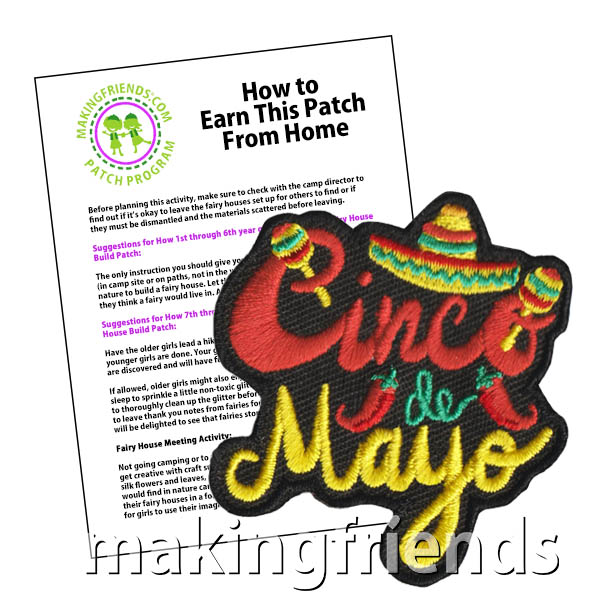 Cinco de Mayo Patch Program® from MakingFriends®.com. Basic information to share with your scouts about Cinco de Mayo as well as link to craft ideas for your troop celebration can be found in our product description. After a great celebration with your troop, don't forget the colorful Cinco de Mayo patch from MakingFriends®.com. #makingfriends #scoutpatches #girlscouts #scouts #cincodemayo #scoutingfromhome via @gsleader411