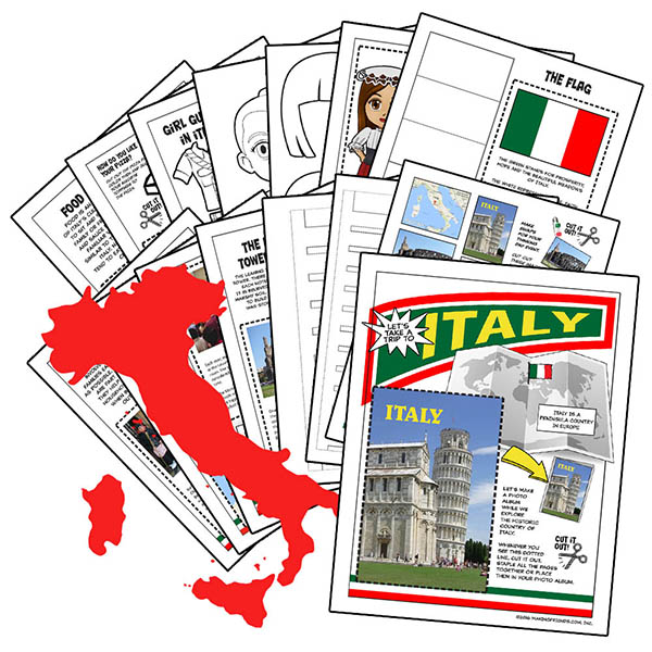 Italy International Download. This fifteen-page download from MakingFriends®.com is packed with 13 different activities to teach your girls all about Italy. Pick the ones that are right for your group or do them all! via @gsleader411