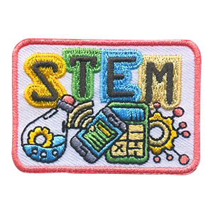 STEM Patch -- Square. This STEM Patch from MakingFriends®.com is perfect for girls who participated in activities featuring Science, Technology, Engineering and Math. Troop leaders who aren't experienced with fun STEM activities can reach out to local teachers or local college students to ask them to help plan activities to get the girls in your troop in service unit excited about STEM.  via @gsleader411
