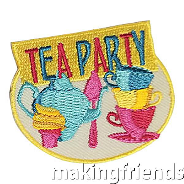 Tea Party Patch -- Yellow. This bright and colorful Tea Party patch from MakingFriends®.com is perfect after your service unit event, troop party or trip! via @gsleader411