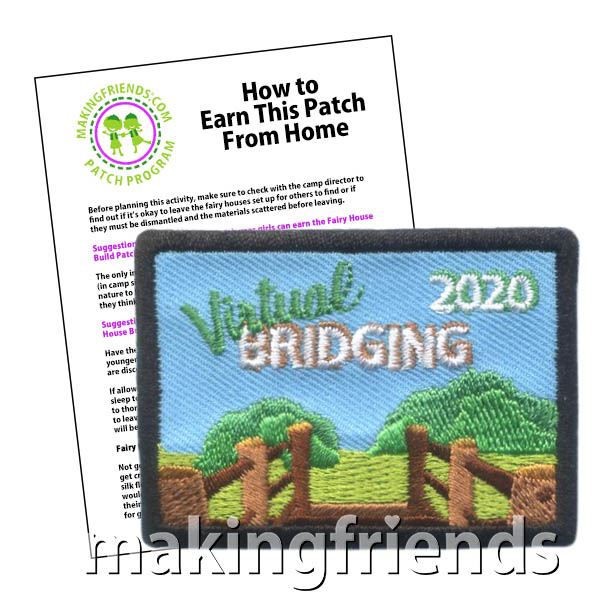 Virtual Bridging Patch from MakingFriends®.com. Most bridging ceremonies in the spring of 2020 will be virtual. Help your scouts remember that not even COVID-19 stopped them from celebrating this year with the Virtual Bridging patch. See our suggestions for a virtual bridging ceremony. Available later this month. Don't miss out. Add to wait list to be notified when it comes in. #makingfriends #scoutingfromhome #scoutpatches #girlscouts #scouts #girlscoutbridging2020 via @gsleader411