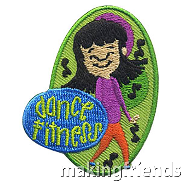Have fun dancing for fitness with your troop, then get this fun Dance Fitness patch! $.69 each free shipping available #makingfriends #dancefitness #gspatch #girlscouts #gsdancepatch #dancepatch #dancing #fitness #behealthy via @gsleader411