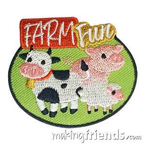 Farm Patch -- Animals. Whether your girls took a trip to the farm to work on a journey, badge or petal or just for fun, this Farm patch is a cute reminder of their trip. Available at MakingFriends®.com. via @gsleader411