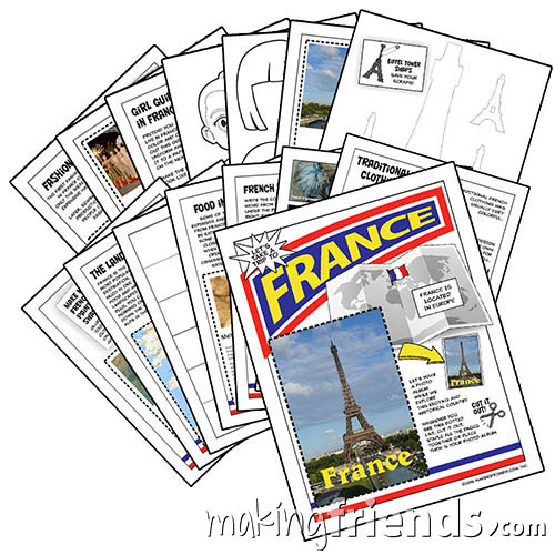France International Download from MakingFriends®.com. This fifteen-page download is packed with 13 different activities to teach your girls all about France. Perfect for Thinking Day. via @gsleader411