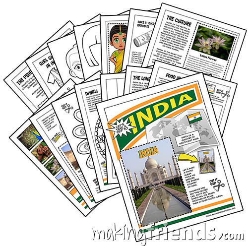 India International Download. This fifteen-page download is packed with 13 different activities to teach your girls all about India. Pick the ones that are right for your group or do them all! Available at MakingFriends®.com. via @gsleader411