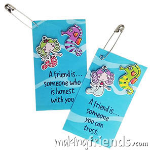 A Friend is... Friendship Swap Kit. Everyone knows that mermaids and seahorses and best friends! Kit makes 30 and is available at MakingFriends®.com. via @gsleader411
