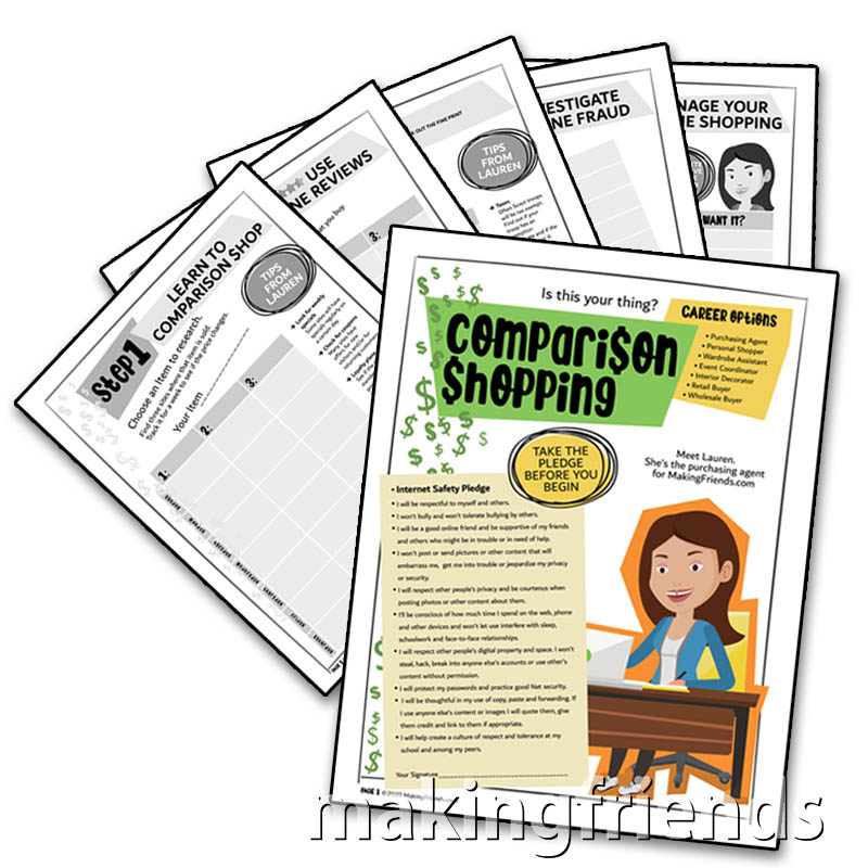 Comparison Shopping Download. This six page download from MakingFriends®.com and a pencil is all your girls will need to earn the Cadette Comparison Shopping badge. Your girls will learn how to manage their own shopping and think about some career options for girls who like to shop. via @gsleader411