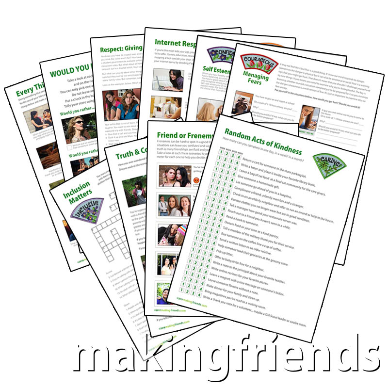 Conversation Starter Downloads for Older Girls. Ten awesome downloads for your older girls. Each download corresponds with a part of the Girl Scout Law. They are designed to get your girls thinking and talking about important topics for today's teens. Perfect for virtual meetings when your girls can't meet in person. Exclusively available at MakingFriends®.com. via @gsleader411