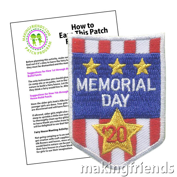 Memorial Day 2020 Patch Program® from MakingFriends®.com. How did your troop commemorate Memorial Day in 2020? Some troops were able to participate in local parades and flag placement. Other troops chose to honor the day with virtual ceremonies and other patriotic activities. #makingfriends #mf #patchprogram #scoutingfromhome #scoutpatches #girlscouts #scouts #juliettescouts via @gsleader411