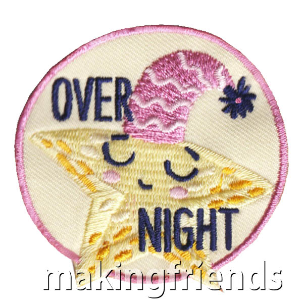 Over Night Patch from MakingFriends®.com. This adorable Sleep Over patch from MakingFriends®.com is perfect for your troop's first sleep over, lock-in or camping trip. #makingfriends #scoutpatches #girlscouts #scouts via @gsleader411