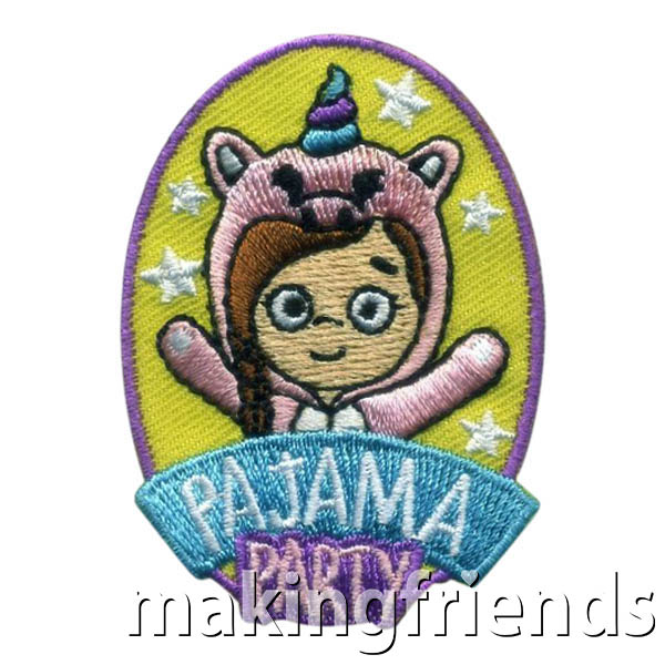 Pajama Party Patch -- Unicorn from MakingFriends®.com. Get your girls together in their favorite PJs and have a sleep over! When the fun is over, your girls will love the cute unicorn themed Pajama Party patch from MakingFriends®.com. #makingfriends #scoutpatches #girlscouts #scouts #juliettescouts via @gsleader411
