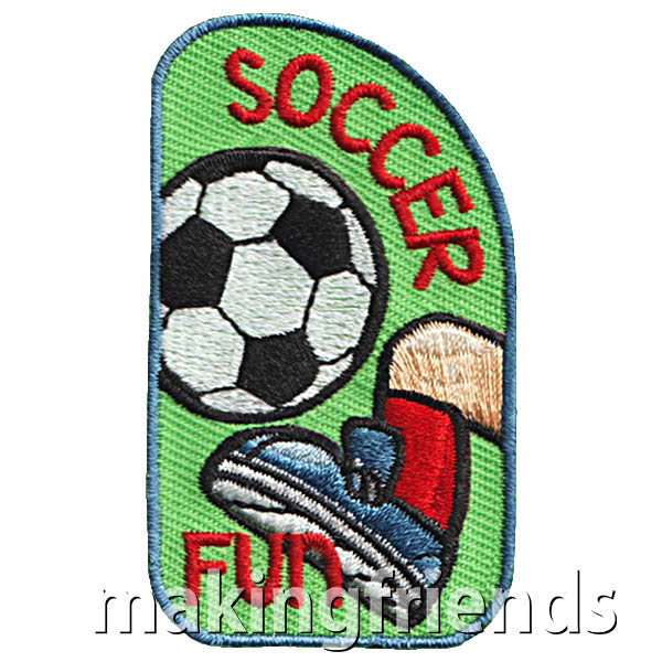 Soccer Patch from MakingFriends®.com. Your scouts don't need to be on a team to learn the basic rules and skills for a fun soccer game. Check with a coach or player from your local high school soccer team to teach your troop the basics and maybe even to be the referee in a friendly game with another troop. Your scouts will have fun while getting some exercise and practicing good sportsmanship skills.  #makingfriends #scoutpatches #girlscouts #scouts via @gsleader411