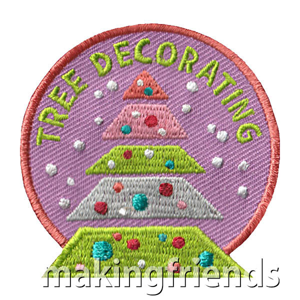 Tree Decorating Patch from MakingFriends®.com. Have a tree decorating contest or decorate one for fun or service. Remember the fun had by all with this cute Tree Decorating patch from MakingFriends®.com. #makingfriends #scoutpatches #girlscouts #scouts #juliettescouts via @gsleader411