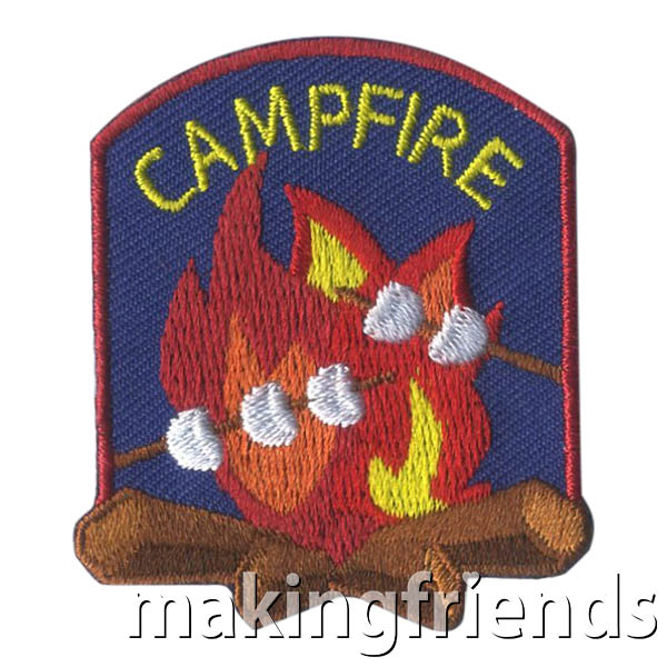 Campfire Patch -- Marshmallows from MakingFriends®.com. S'mores, songs and skits around the campfire are all traditions. With this patch from MakingFriends®.com your girls will remember the fun times they had around the campfire! #makingfriends #funpatches #girlscouts #scouting via @gsleader411