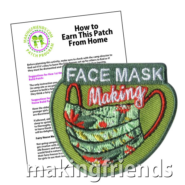 Face Mask Making Patch Program® from MakingFriends®.com. By following our suggested requirements, scouts of any level can learn how face masks help prevent the spread of COVID-19. Younger scouts can make face masks for themselves with basic supplies while older scouts can make fabric face masks for themselves, friends and family and the community. Older scouts can also learn about different materials that can be used as face mask filters. #patchprogram #scoutingfromhome #communityservice via @gsleader411