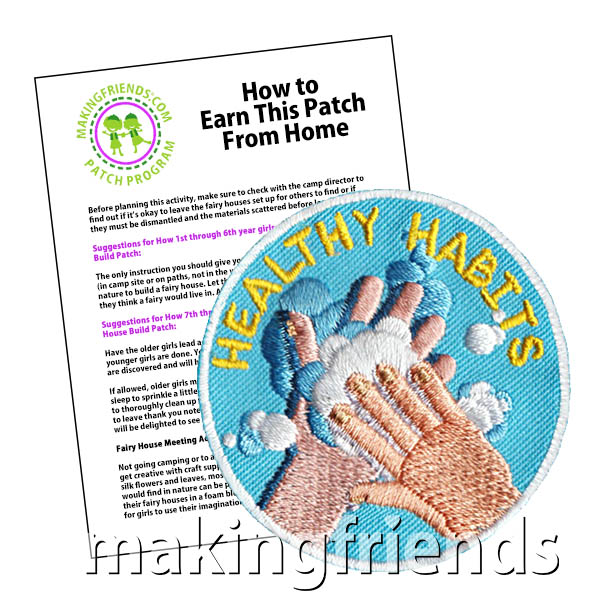 Healthy Habits Patch -- Hands from MakingFriends®.com. Help your girls learn about how to prevent spreading the flu and germs. See our suggested requirements. This program is one in a series of programs about good health habits. #makingfriends #patchprogram #scoutingfromhome #girlscouts #scouting #juliettescouts via @gsleader411