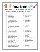 Stay at home activity check list for Girl Scouts