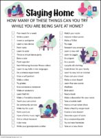Stay at home activity check list for teen Girl Scouts