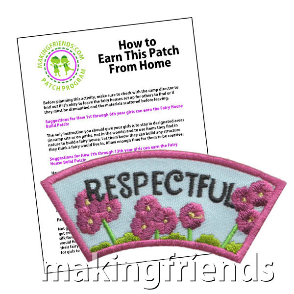 Respectful: Character Building Patch Program® from MakingFriends®.com. Designed for any troop interested in reviewing the law. Our suggested requirements include opportunities for scouts of every level to put the law into practice with activities tailored for their age. #makingfriends #patchprogram #scoutpatches #girlscouts #scouts #juliettescouts #girlscoutlaw via @gsleader411