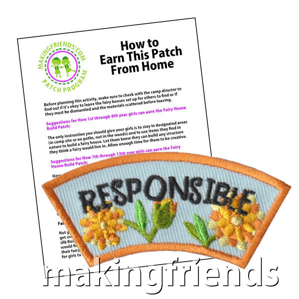 Responsible: Character Building Patch Program® from MakingFriends®.com. Designed for any troop interested in reviewing the law. Our suggested requirements include opportunities for scouts of every level to put the law into practice with activities tailored for their age. #makingfriends #patchprogram #scoutpatches #girlscouts #scouts #juliettescouts #girlscoutlaw via @gsleader411