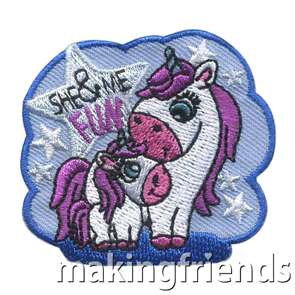 She and Me Patch -- Unicorns from MakingFriends®.com. For that special event for your girls and that special lady in her life. The She and Me patch will remind them of the fun they had together. #makingfriends #funpatches #girlscouts #scouting via @gsleader411