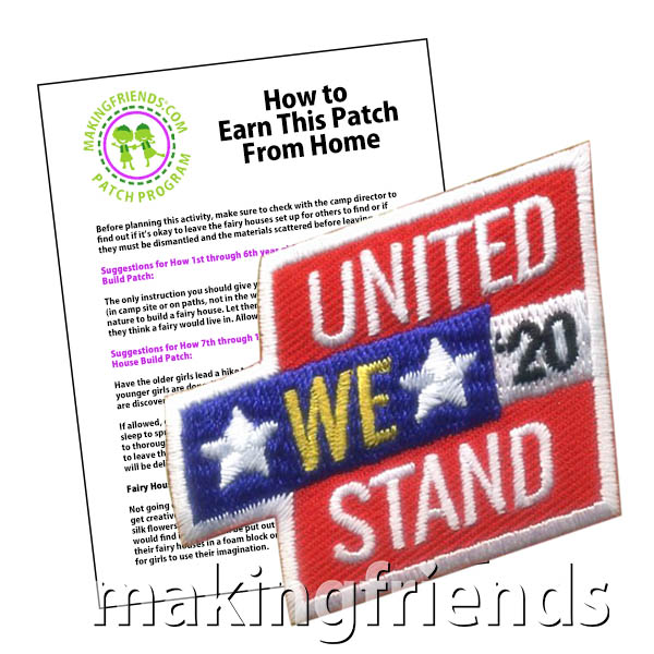 United We Stand 2020 Patch from MakingFriends®.com. We are never stronger than when we stand together and help one another. Help your scouts remember that we stood together as a nation to help prevent the spread of COVID-19. Earn the United We Stand 2020 patch by examining the effects of social distancing on society. See our suggested requirements. #makingfriends #scoutingfromhome #patchprogram #girlscouts #scouting #juliettescouts via @gsleader411