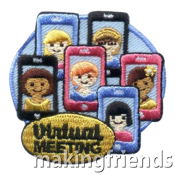 Virtual Meeting Patch. When your troop can't meet in person, virtual meetings are a great way for the scouts to stay connected and engaged in the program.Our blog How to Hold Virtual Scout Meetings will help you if you aren't familiar with the platforms available to host a virtual meeting. The Virtual Meeting Patch from MakingFriends®.com will remind the girls that nothing can stop them from working together as a troop. #makingfriends #mf #scoutingfromhome #scoutpatches via @gsleader411