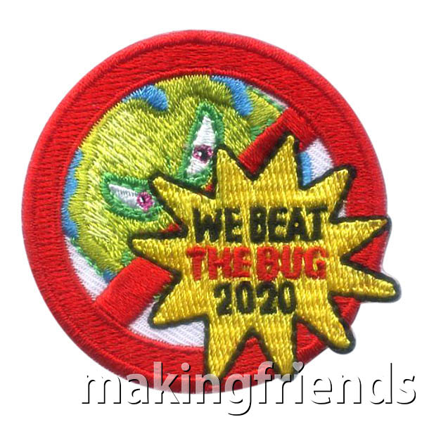 We Beat the Bug 2020 Patch from MakingFriends®.com. Once the social distancing has ended and troops start meeting again, welcome your scouts back with the We Beat the Bug 2020 Patch from MakingFriends®.com. #makingfriends #scoutpatches #girlscouts #scouts via @gsleader411