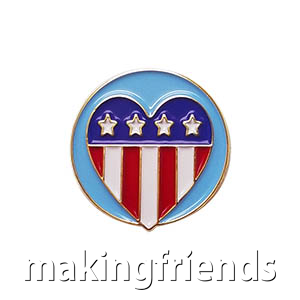 "The Patriotism Delegate Pin is from the Youth Squad Community Patch Program®. MakingFriends®.com partnered with Youth Squad to bring you a rewarding community service program with step-by-step instructions for every age level to make a meaningful impact in their community. This is one of our ""Delegate"" level pins. The requirements for our Delegate level provide teens with valuable life experience and a completed project to include on a resume or college application. via @gsleader411"