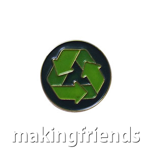 """The Recycling Delegate Pin is from the Youth Squad Environmental Patch Program®. MakingFriends®.com partnered with Youth Squad to bring you a rewarding community service program with step-by-step instructions for every age level to make a meaningful impact in their community. This is one of our """"Delegate"""" level pins. The requirements for our Delegate level provide teens with valuable life experience and a completed project to include on a resume or college application. via @gsleader411"""