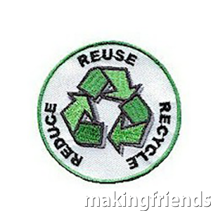 Learning about the importance of reducing, reusing and recycling items that can be reused. Commemorate the learning experience with the Reduce, Reuse & Recycle patch. via @gsleader411