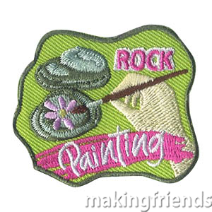Rock Painting Patch. This simple activity is so much fun! The girls can use nice messages for kindness rocks to place around town, inspirational messages for rock painting and hiding or just fun images to give to someone special or place in a garden. Whatever your troop decides to do with their finished creations, the Rock Painting patch from MakingFriends®.com is a great reminder of a fun activity they did together. via @gsleader411