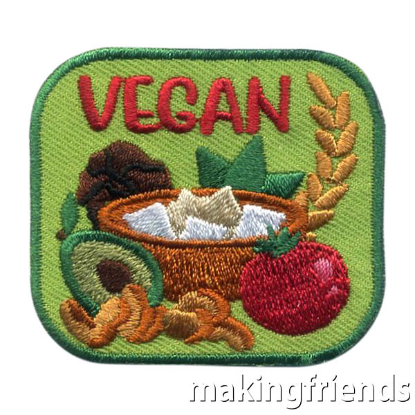 Vegan Patch from MakingFriends®.com. Help your scouts learn the difference between vegan and vegetarian. Give your scouts the Vegan Patch from MakingFriends®.com to show they understand what a vegan diet is and are able to make accommodations for friends or family that are vegan. See our suggestions for earning this patch. #makingfriends #mf #scoutpatches #girlscouts #scouts #juliettescouts via @gsleader411