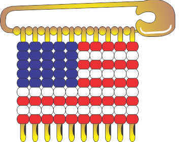 USA Flag Pins for Swapping. Pattern to create safety pin flag for United States of America. Directions available at MakingFriends.com #makingfriends #mf #girlscoutswaps #swaps #tradition #crafts #diy #girlscouts #scouts #juliettescouts via @gsleader411