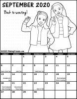 Girl Scout Monthly Calendar September 2020
