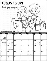 Girl Scout Monthly Calendar August 2021