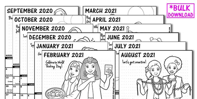 Girl Scout Monthly Calendar Bulk Pack