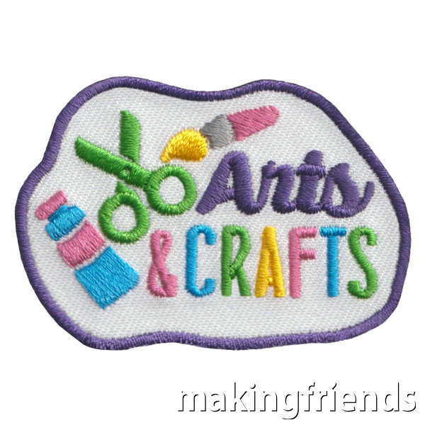 """Everybody loves Arts & Crafts and the """"Arts & Crafts"""" Patch is a reminder that your group had a fun activity. #makingfriends #funpatch #girlscouts #scoutpatches #girlscoutbadges #scouts #art #crafts #artandcrafts #artpatch #craftpatch via @gsleader411"""