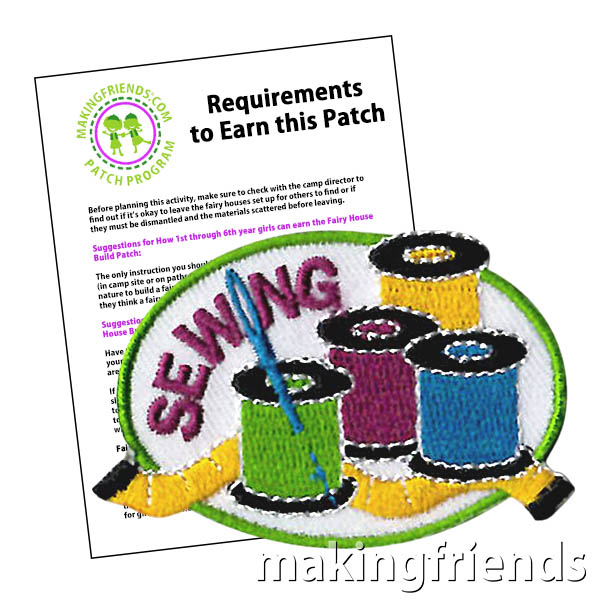 Sewing Patch. Have fun learning how to sew. Your scouts and their parents will appreciate them learning the valuable skills needed to make simple clothing repairs as well as being able to sew their patches on their vest by themselves! This awesome patch from MakingFriends®.com shows your troop has learned basic sewing skills. via @gsleader411