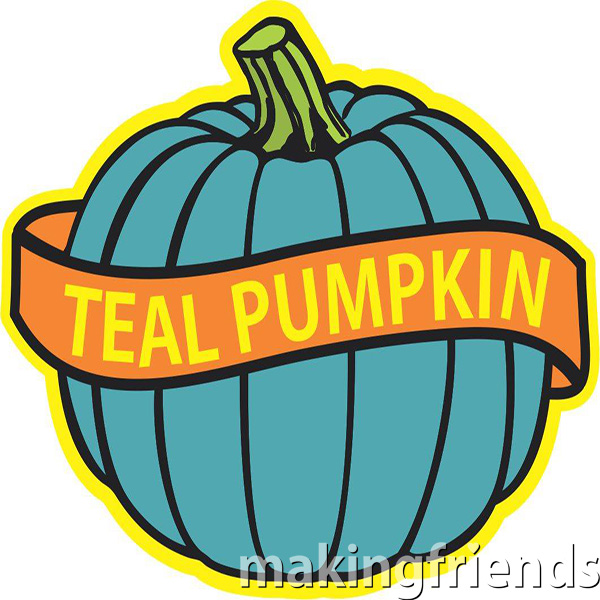 Teal Pumpkins are used to indicate that a house offers non-food treats for those with food allergies or other needs. #tealpumpkins #makingfriends #nonfoodtreats #treats #tealpumpkin #halloween #girlscouts #girlscoutpatches #makingfriends #halloweenpatches via @gsleader411