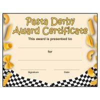 Pasta Derby Patch Program Award Certificate