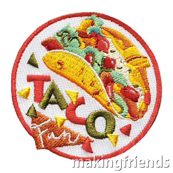 Enjoy a taco buffet or a fun Taco Tuesday night with your troop. Get the patch to remember the taste and company! $.69 each Free Shipping Available #makingfriends #girlscoutpatches #boyscoutpatches #scoutpatches #scouts #girlscouts #tacofun #tacotuesday #tacos #foodie via @gsleader411
