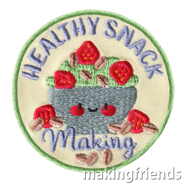 Most kids have snacks every day. So why not teach them about healthy snacks with this Healthy Snack Making Badge. $.69 each Free Shipping Available #makingfriends #healthysnackmaking #snackbadge #girlscoutfunpatch #girlscoutbadges #snackbadge #snacks via @gsleader411