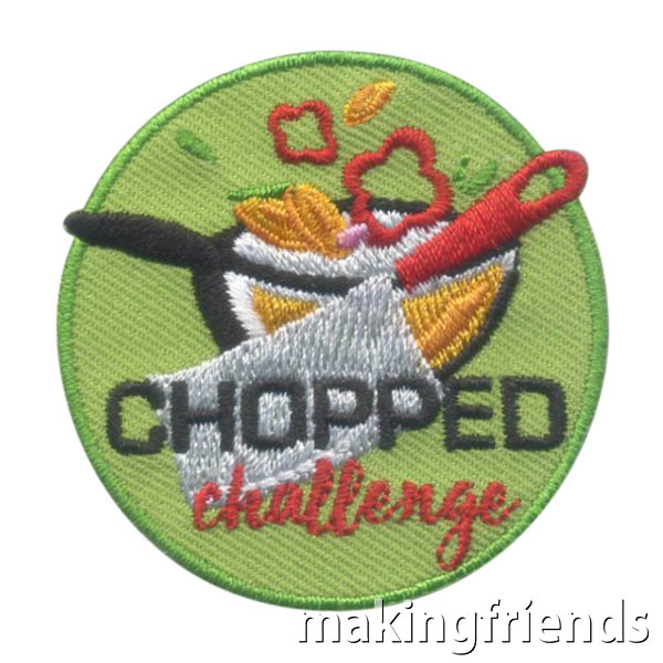 Chopped Challenge Patch! Create a kitchen challenge and get this patch to remember the fun! #makingfriends #funpatch #choppedchallenge #gspatches #chopped #girlscouts #boyscouts #gsfunpatch #challenge #challengepatch via @gsleader411