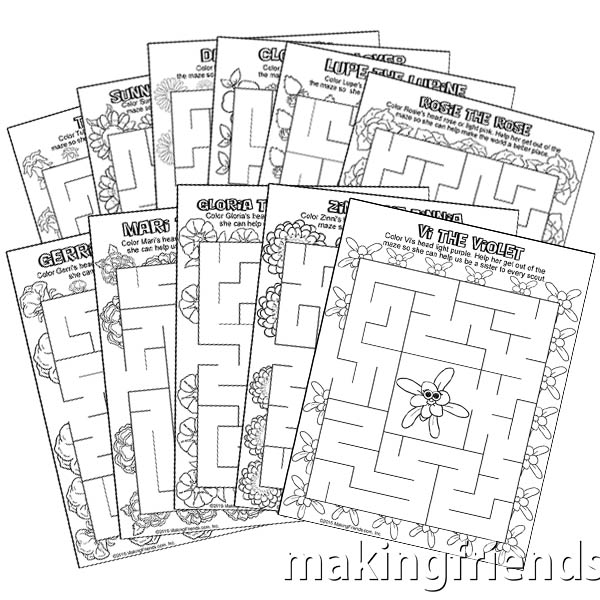 Girl Scout Daisy Petal Coloring Mazes via @gsleader411