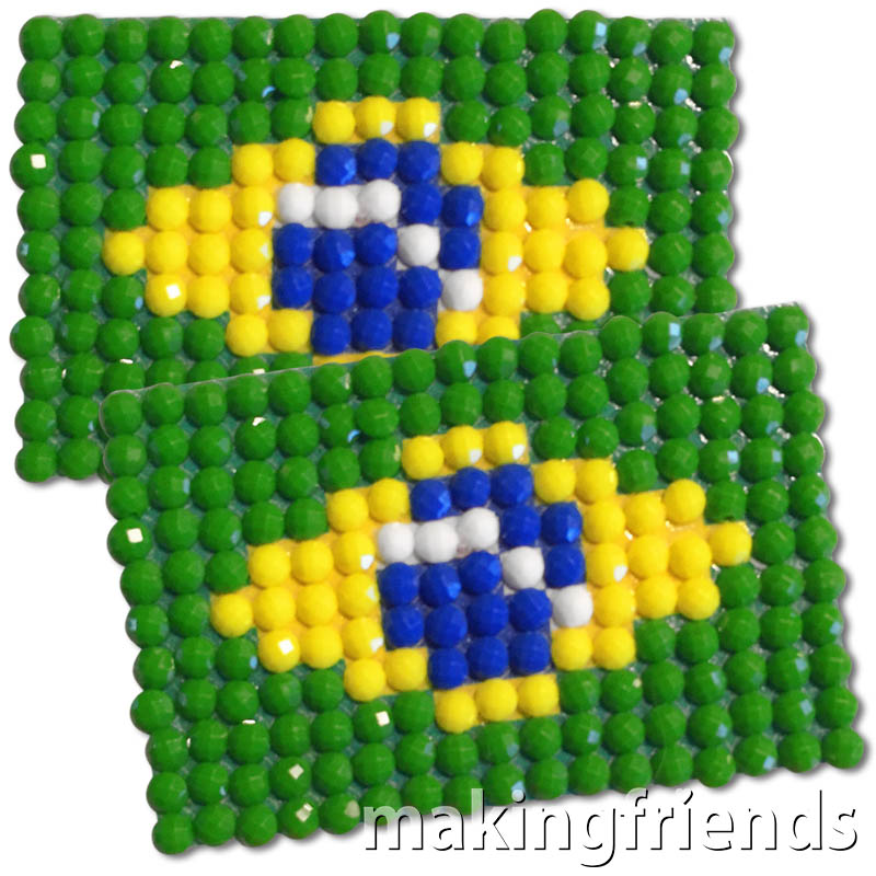 Diamond Painting Brazil flag pin Girl Scout SWAP via @gsleader411