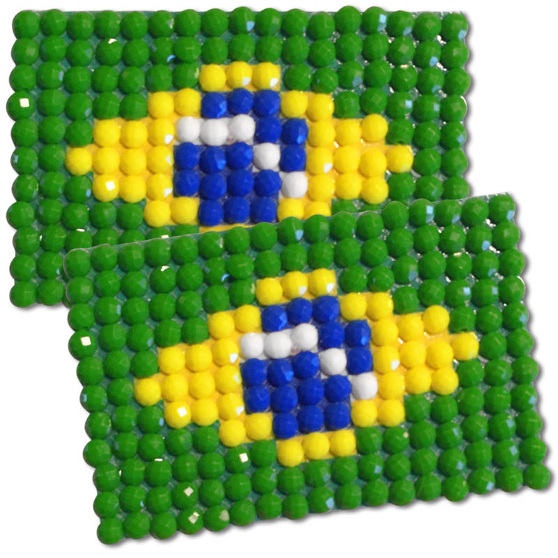 Diamond Painting Brazil flag pin Girl Scout SWAP