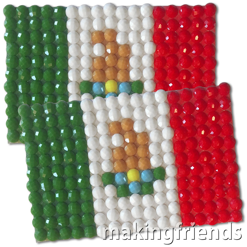 Diamond Painting Mexico flag pin Girl Scout SWAP via @gsleader411
